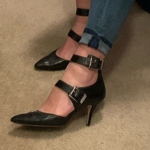 "Black leather 3"" heels shoes"